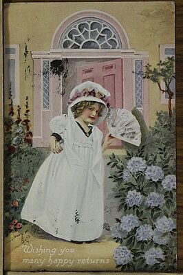 """ANTIQUE 1910's EASTER POSTCARD """"Young Girl In Church Dress"""" Unposted"""