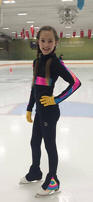 SD Ice Figure Skating Made in USA POLARTEC Pants,top,glows rainbow Child L