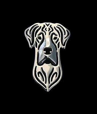 Great Dane Dog Brooch or Pin -Fashion Jewellery Silver Plated, Stud Back