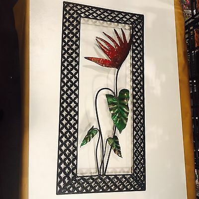 Metal Wall Art Hanging Plaque sculpture quality large Flower panel red