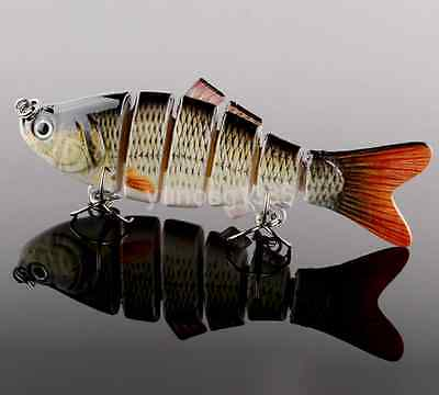High End 6 Jointed Sections Swimbait Fishing Lure Crankbait Treble Hook Tackle
