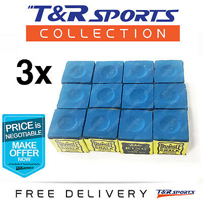 3 Boxes (36X) Blue Triangle Billiard Snooker Pool Chalk Set Free Delivery