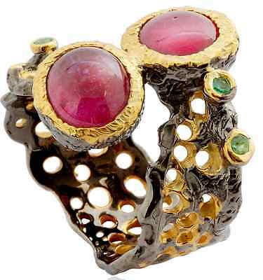 Natural Ruby Gemstone Ring Natural Gemstones Genuine hand forged artwork- size 8