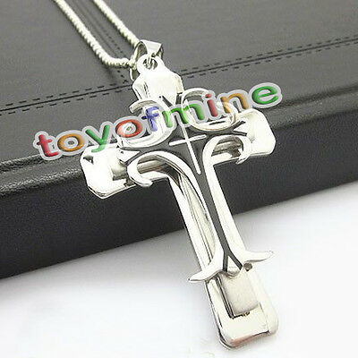 New Men's Silver Black Stainless Steel Cross Pendant With Necklace Hot sale