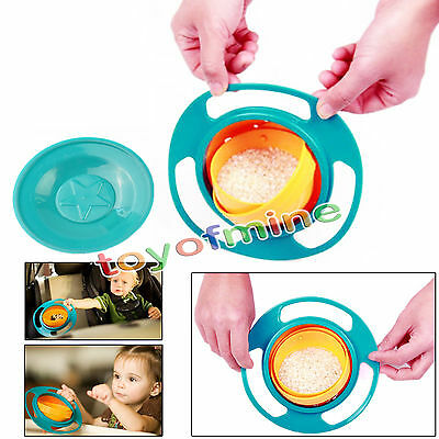 Toddler Gyro Bowl Non Spill Feeding 360 Rotating Baby Kids Avoid Spilling New