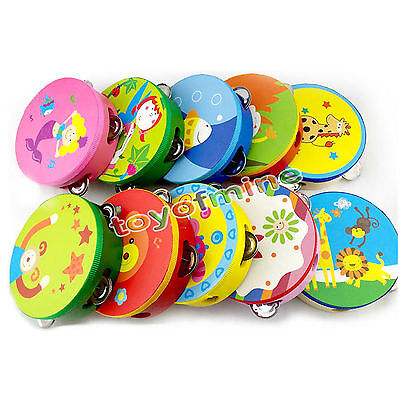 Baby Kids Cartoon Musical Tambourine Beat Instrument Educational Hand Drum Toys