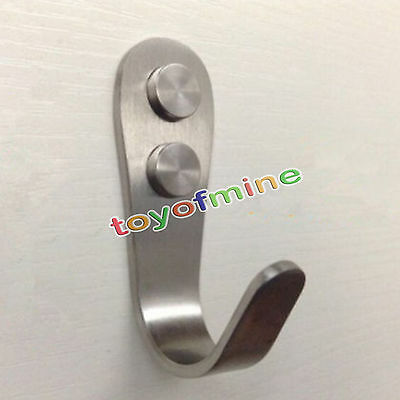 3mm Brushed Stainless Steel Coat And Hat Single Hook Heavy Duty Wall Mount