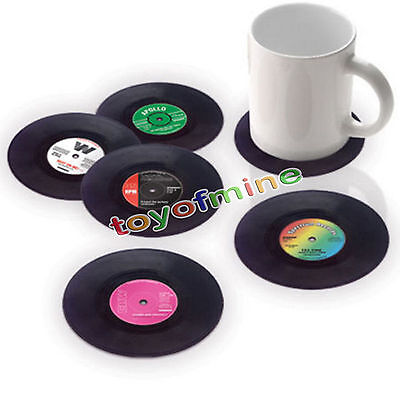 6pcs Round Vinyl Coaster Groovy Record Cup Drinks Holder Mat Placemat Tableware