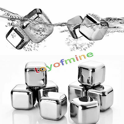 8pcs Reusable Stainless Steel Whiskey Wine Stones Ice Cubes  & Tongs