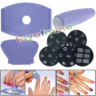 New Manicure Stencil Tool 5pcs Nail Art Stamp Stamping Image Plates Set
