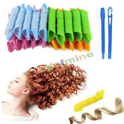 18PCS DIY Magic Hair Curler Leverage Curlers Formers Spiral Styling Rollers
