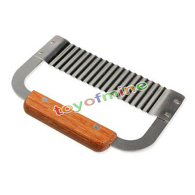 Hardwood Handle Crinkle Wax Vegetable Soap Cutter Stainless Steel Wavy Slicer
