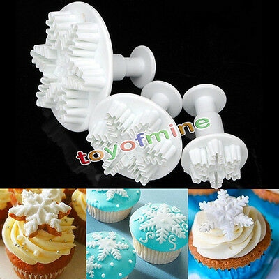 3Pcs Xmas Snowflake Cake Biscuits Cookies Decorating Fondant Plunger Cutter Tool