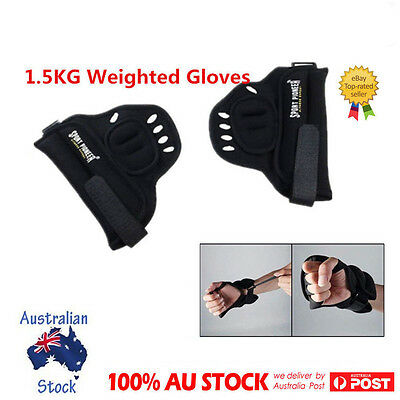 Heavy Duty 1.5KG Boxing Weighted Gloves Hand Weights GYM Training Workout Tools