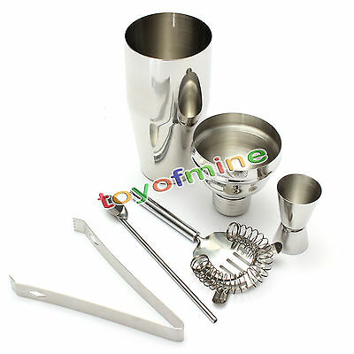 Set 5 Stainless Steel Cocktail Shaker Jigger Mixer Bar Drink Bartender Kit 250ML