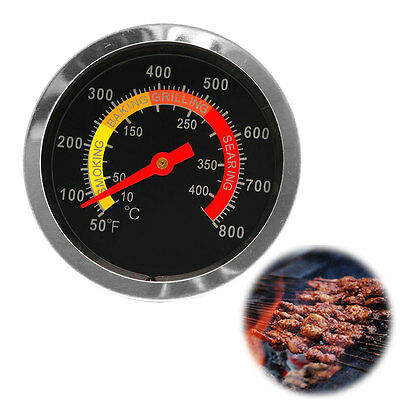 New Stainless Steel BBQ Smoker Grill Thermometer Temperature Gauge 10-400℃