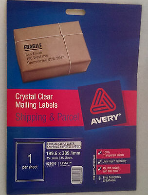 AVERY® Crystal Clear Shipping Labels, L7567, 25/Pack, 199.6 x 289.1 mm 959065
