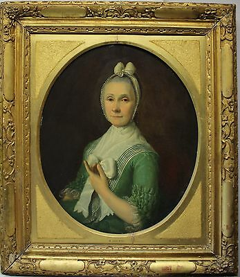 Stry Strij  I van Abraham -wohl- 1753 - 1826 not signed Oil oval woodplate Lady