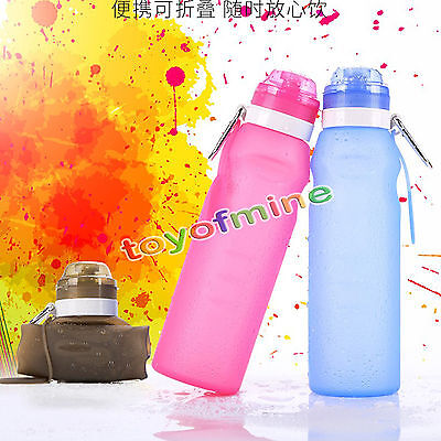 Travel Collapsible Silicone Sport Flex Water Bottle Foldable Hiking 600ml Color