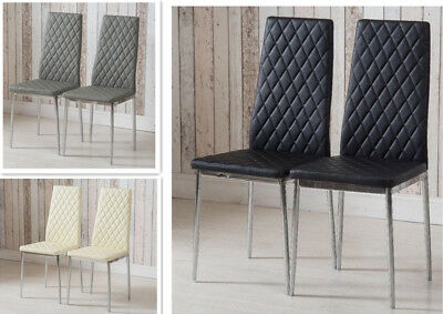 Faux Leather High Back Dining Chairs Chrome Finish Legs Padded Seat Black/Cream