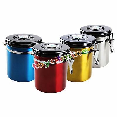 Coffee Canister Airtight Stainless Steel Vacuum Seal Storage Bean Container 16oz