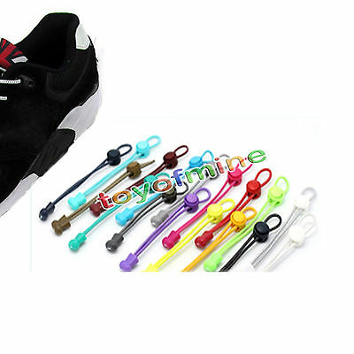 Locking Shoe Lace Pair Elastic Band Running, Jogging, Sporting Colorful Shoelace
