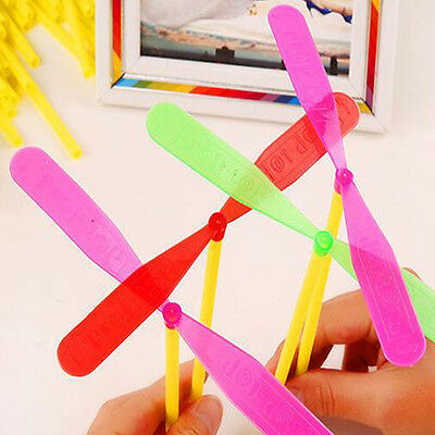 20Pc Plastic Helicopter Propeller Hand Rub Fly Kids Outdoor Toy Bamboo Dragonfly