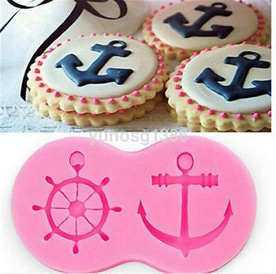 Rudder and anchor Shape Fondant Cake Decorative tools 3D Pastry Cookie mould US