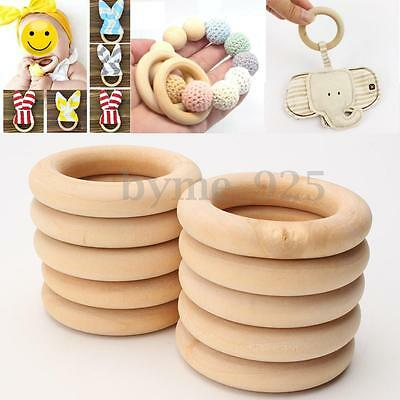 20Pcs Natural Unfinished Rings Add On Wood Wooden Rings 55mm 2.2 inches