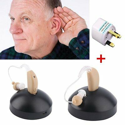 Rechargeable Hearing Aids Sound Voice Amplifier Behind The Ear EU Plug ZY