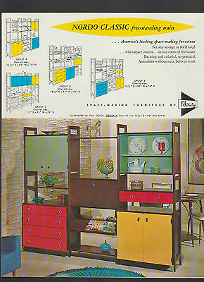 Nordo Classic Free-Standing Units Space-Making Furniture Brochure 1960s Khoury