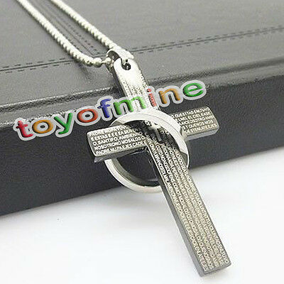 New Boy Men's Silver Black Ring Cross Stainless Steel Necklace Pendant Chain
