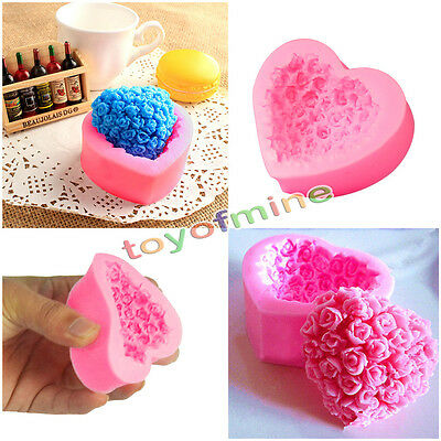 1 x Silicone DIY Cake Decoration Tools Fondant Mould Rose Flower Heart Mold New