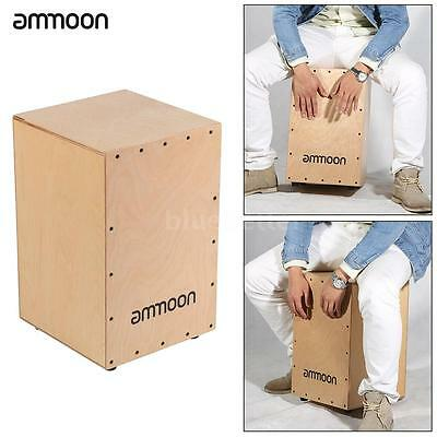 ammoon Wooden Drum Box Cajon Hand Drum with Stings Rubber Feet F1R0