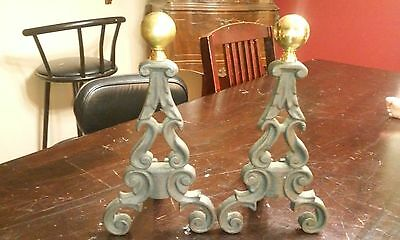 ANTIQUE ARTS & CRAFTS BRASS BALL TOP ANDIRONS FIRE DOG Vintage