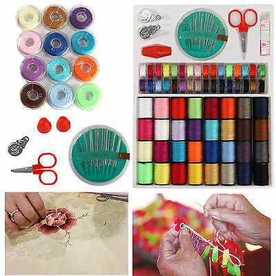 100 X Sewing Pack Kit Thread Needle Tape Measure Threader Thimble Storage Box