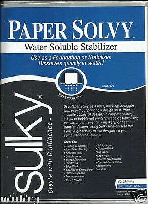 "Sulky Paper Solvy (11"" x 8.5"") - Printable Water Soluble Stabiliser - 12 sheets"