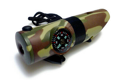 NEW Survival Whistle 7 in 1 Multi-Use Inc Power Torch Camouflage Army green
