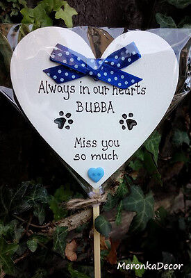 Always in my heart- PET MEMORIAL-Dog-Cat Grave Personalised Plaque-BLUE
