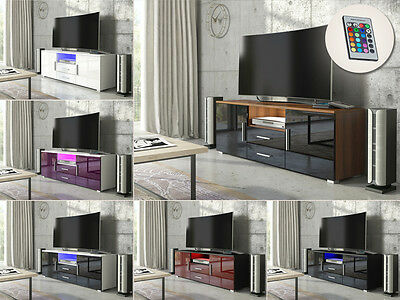 Modern TV Unit Cabinet Sideboard- Matt Body and High Gloss Fronts+FREE LED Light