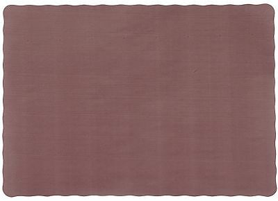 "50 Count 10"" x 14"" Burgundy Colored Paper Placemat with Scalloped Edge"
