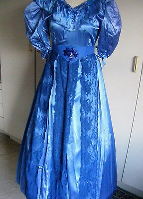 Vintage theatrical dress rich blue satin Victorian style ballgown lace small
