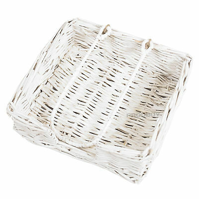 White Rattan 20.5cm Square Napkin Holder Shabby Chic Vintage Serviette Dispenser