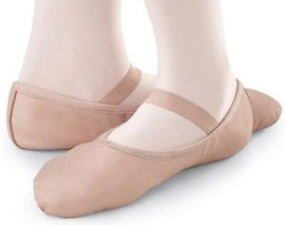 Pink Leather Ballet Dance Shoes, full suede sole with elastics (irish jig pumps)