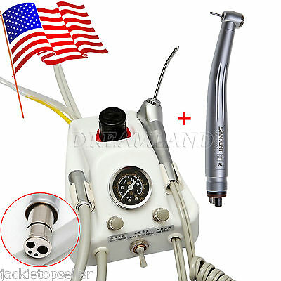 Dental Portable Turbine Unit 4Hole Work W/ Compressor + High Speed Handpiece