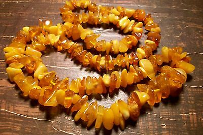 VINTAGE RAW BALTIC AMBER BUTTERSCOTCH BEADS NECKLACE 35.5 Gram