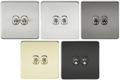 Knightsbridge Screwless 10A 10 Amp 2G 2 Gang 2 Way Toggle Light Switch Plate