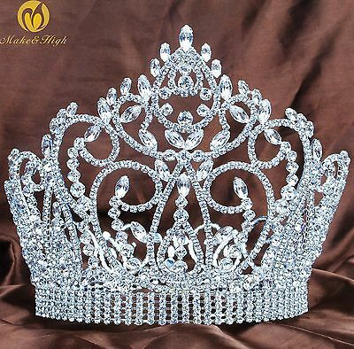 """Fantastic 7"""" Tiara Diadem Silver Crown Crystal Wedding Pageant Party Costumes"""
