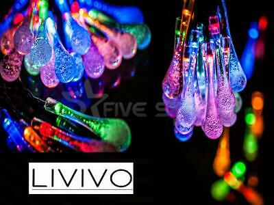 24 Led Solar Water Drop String Lights Multicolour Crystal Effect Air Bubbles