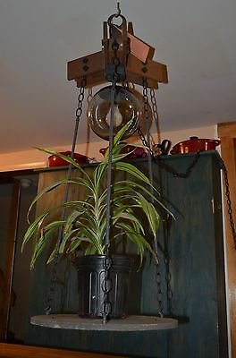 chaindelier wood iron rustic NOS chandelier w/hanging shelf/plant holder-castle